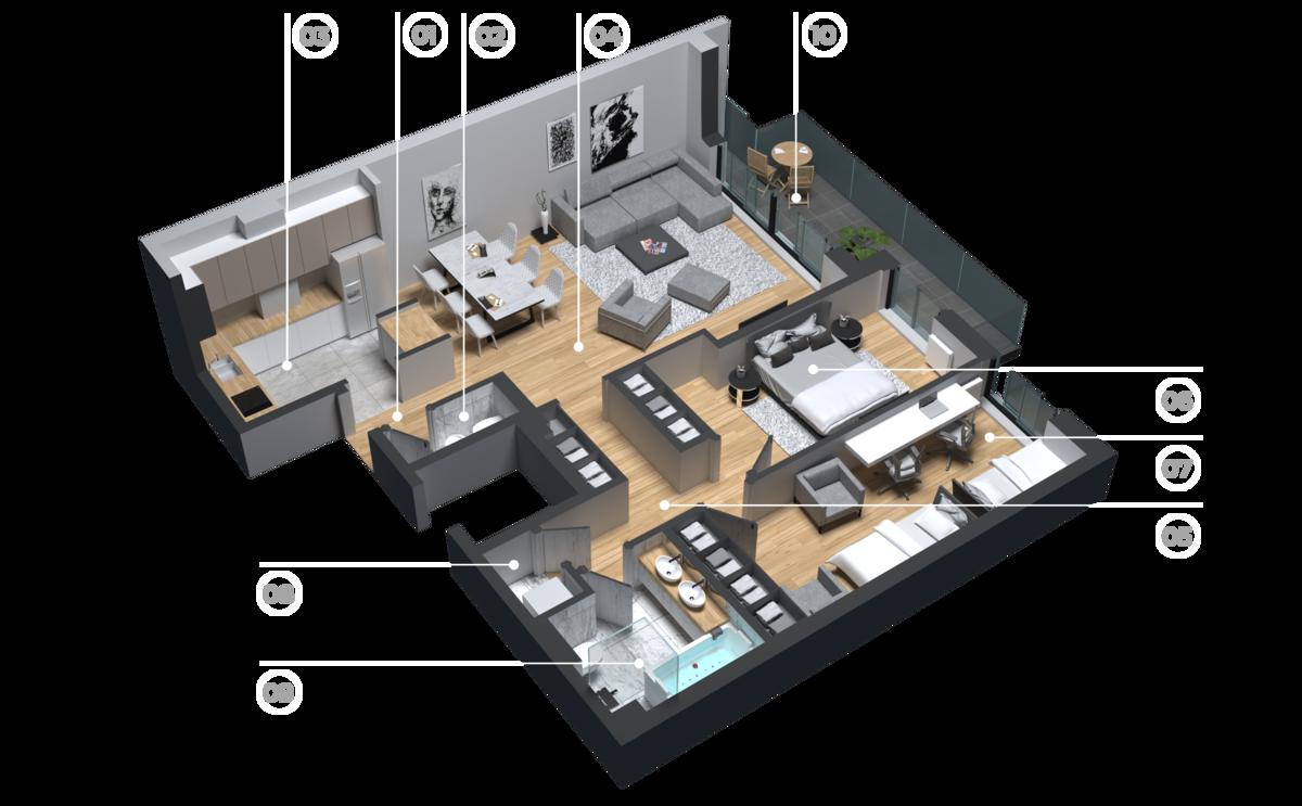 diatreta 3d display apartment 6
